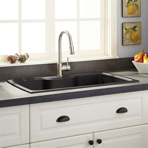 "35"" Lorman Drop In Granite Composite Sink   Black"