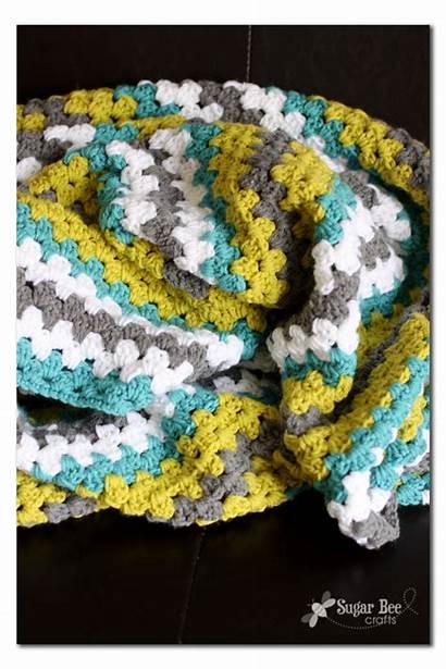 Crochet Stripe Granny Afghan Throw Blanket Yarn