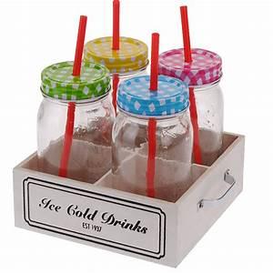 Verre Avec Paille : 4 bocaux verres mugs en verre avec couvercle type confiture plateau et pailles ~ Teatrodelosmanantiales.com Idées de Décoration