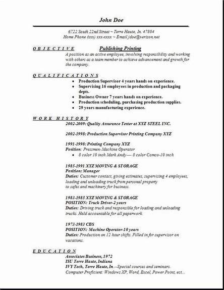 publishing printing resume occupational exles sles
