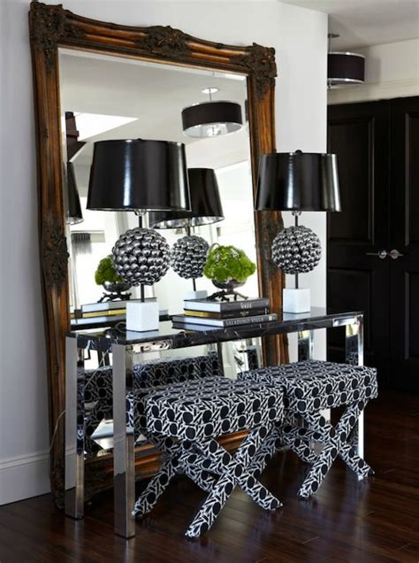 floor mirror console table atmosphere interior design modern foyer entrance with