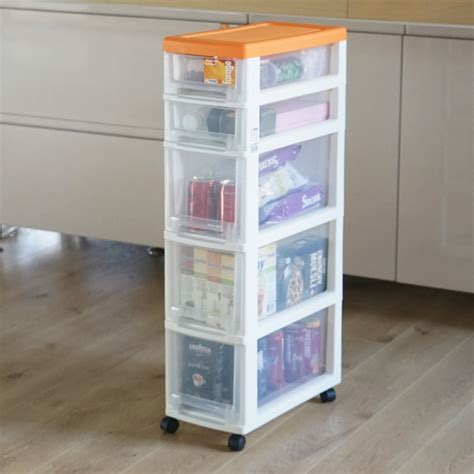 Kitchen Drawer Ideas - 22cm ultra narrow gap narrow belt pulley plastic five drawer storage cabinet slot cabinet