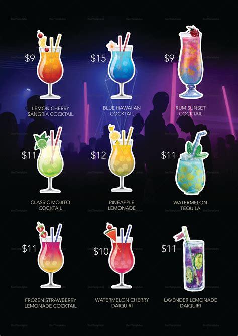 cocktail bar menu design template  psd word publisher