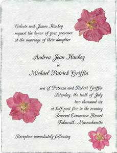 Pressed flower wedding invitations handmade paper with for Wedding invitations with real flowers