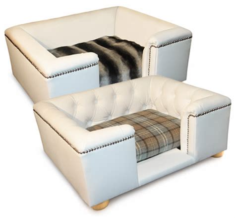 sandringham white faux leather dog bed hand crafted