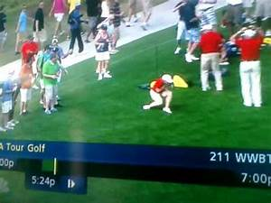 Lady getting hit by golf ball at shell houston open - YouTube