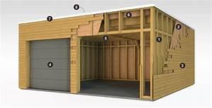 cool garage en ossature bois toit plat with cout de d un With cout d un garage en bois