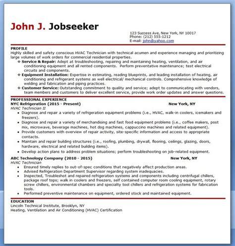 Technician Resume Format by Hvac Technician Resume Sle Resume Exles