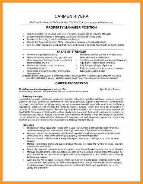 Property Management Resume by 12 13 Residential Property Manager Resume Sles