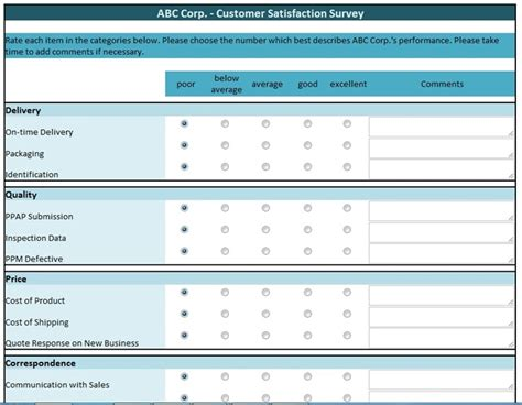 free data collection templates on excel customer satisfaction survey manufacturing