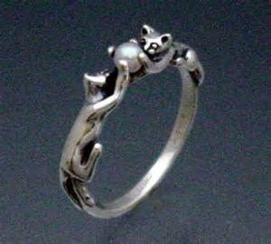 cat ring two cats ring with pearl by sheppardhilldesigns on etsy