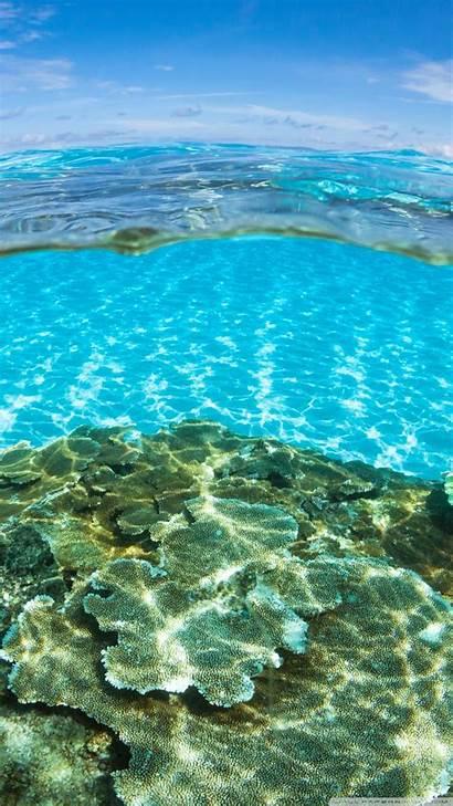 Water Underwater Smartphone Ocean Half Above Background