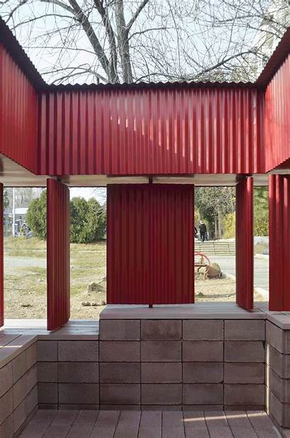 Pavilion Metal Canopy Panels Archdaily Temporary Walls