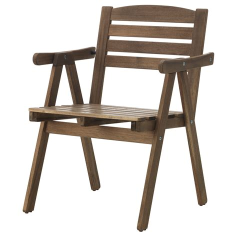 falholmen chair with armrests outdoor grey brown stained