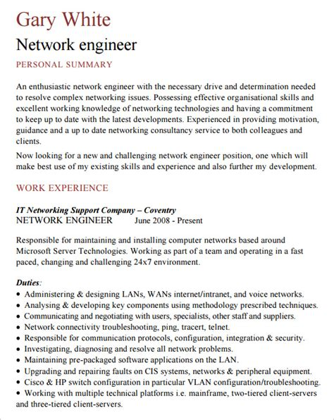 network engineer resume   samples examples format
