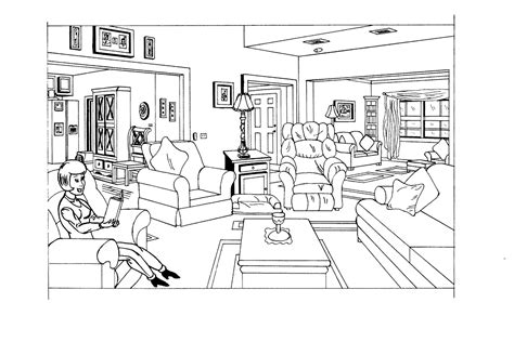 Coloring Living Room by Living Room 2 Buildings And Architecture Printable