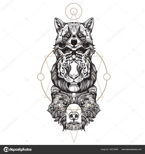 mapache tigre  oso totem archivo imagenes vectoriales