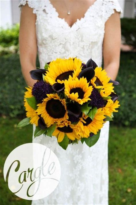summer bridal bouquet  yellow sunflowers  plum calla