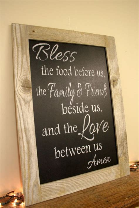 shabby chic chalkboard kitchen bless the food before us chalkboard sign dining room kitchen sign reclaimed wood country decor