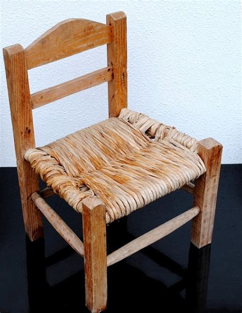 vintage childrens wood chair wicker seat farmhouse rustic