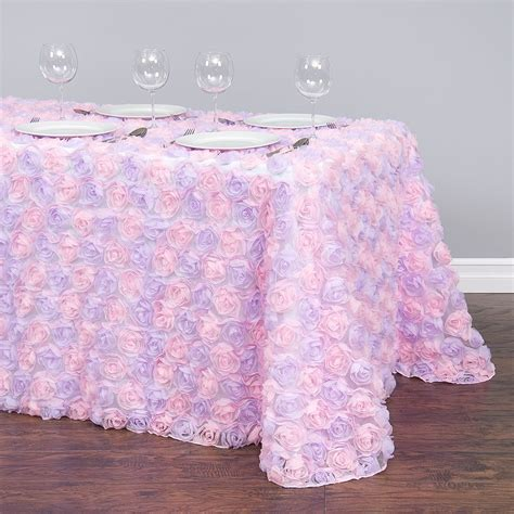90 X 132 in. Rectangular Chiffon Rosette Tulle Tablecloth