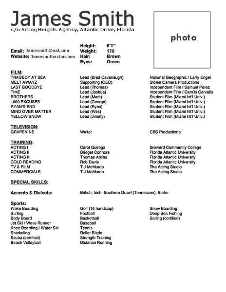 acting cv  beginner acting resume  template