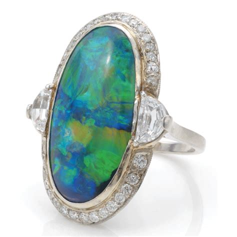 Opel Rings by A La Vieille Russie Black Opal And Cluster Ring