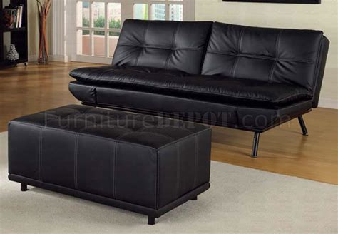 black vinyl modern futon sofa bed w optional matching ottoman