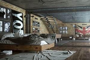 Chambre Deco Industrielle : chambre style industriel avec parement en brique et ~ Zukunftsfamilie.com Idées de Décoration