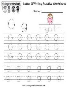 Letter G Writing Worksheets