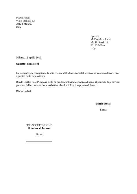 lavoro modello di lettera di dimissioni lettere