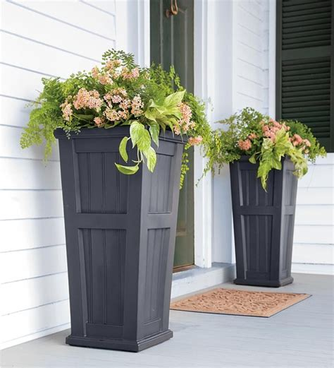 pots for plants outdoor self watering planter traditional outdoor pots and planters by plow hearth