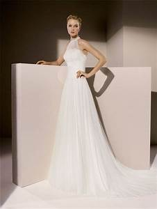 Simple a line high neck ruched tulle wedding dress with collar for Wedding dress with collar