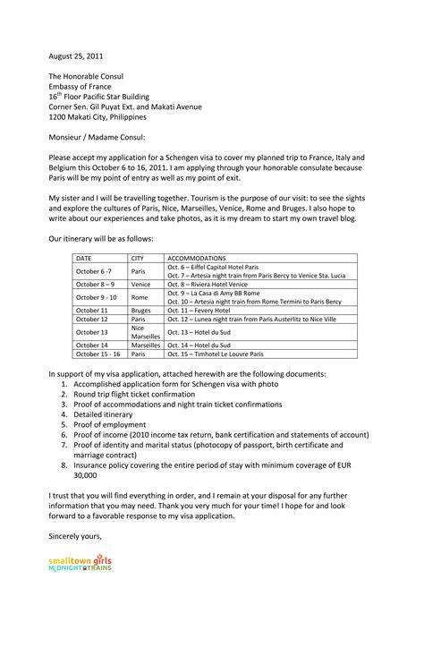 Sample Cover Letter for Schengen Visa Application at the