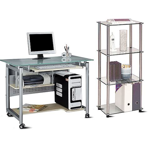 glass top mobile desk and 4 tier bookcase value bundle