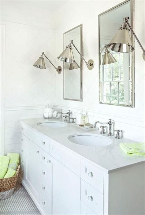 white bathroom features upper walls clad  white diamond