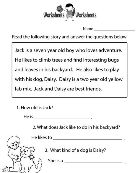 worksheet passages for reading comprehension yaqutlab