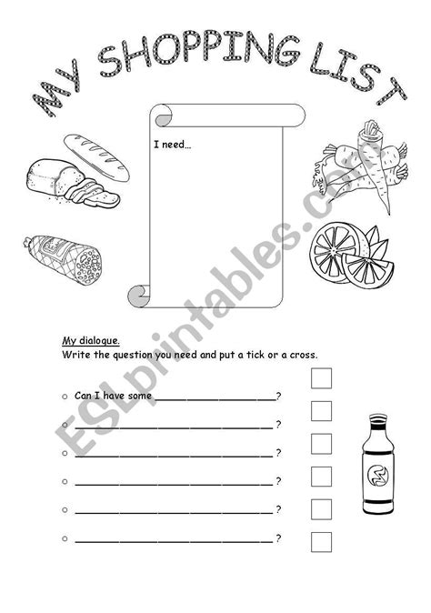 Shopping list - Can I have... - ESL worksheet by adnesilebcn