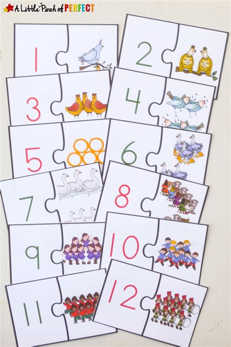 12 days of free printable number puzzles 878 | 12 Days of Christmas Free Printable Number Puzzles A Little Pinch of Perfect 4