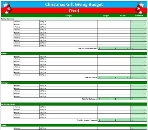 gift budget worksheet template