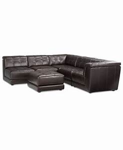 stacey leather 6 piece modular sofa furniture macy39s With stacey leather sectional sofa 5 piece modular pit