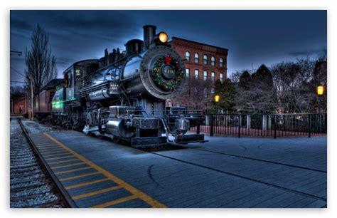 christmas city locomotive railway  hd desktop wallpaper