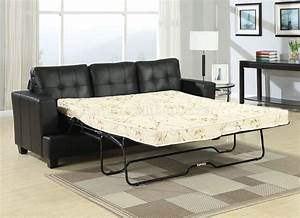 black bonded leather modern sofa w queen size sleeper With sectional sofa w queen sleeper