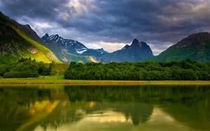 Wallpaper, Lake, Water, Reflection, Mountains, Clouds