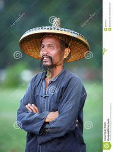 Chinese Man In Old Hat In Guangxi Region Editorial Stock ...