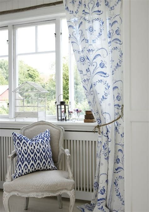 simple pattern on curtains blue and white