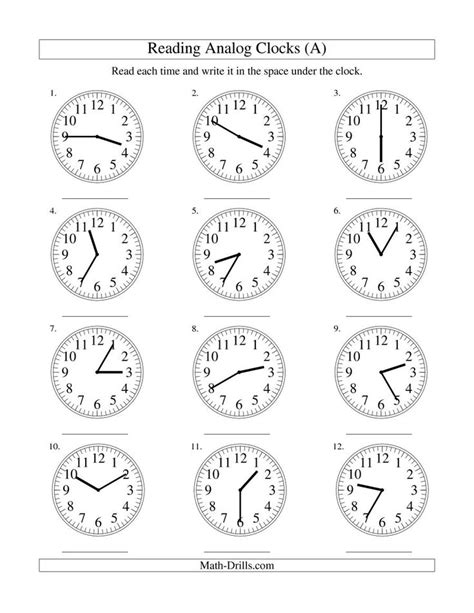 reading time   analog clock   minute intervals