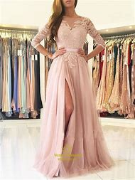 063d266d32d Elegant Blush Pink Lace Long Formal Dresses With Three Quarter Sleeves Sexy Floor  Length Gowns Prom