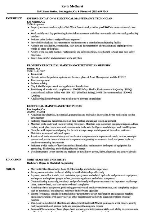 electrical maintenance technician resume sles velvet
