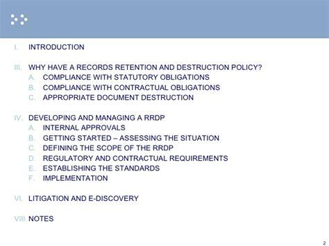 records retention  destruction policies